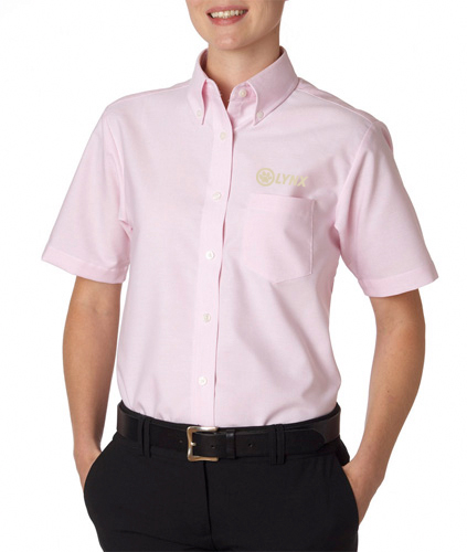 Ladies ss dress shirt pink lynx for Oxford vs dress shirt